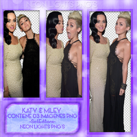 Katy Y Miley PACK PNG - Neon Lights PNG'S by SoffMalik