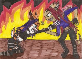 Brithany and Ember-Battle by Gangster-dog
