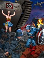 Captain America and Wonder Woman against nazi army by hamletroman