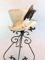 White Velvet Mini Top Hat with Peacock Accent by spaceraptor