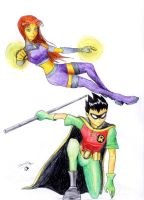 Robin and Starfire by DotWork-Studio