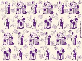 Dean Pelton Toile-Inspired Wallpaper by morphmaker