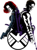 Black Widow and Hawkeye by Mad42Sam
