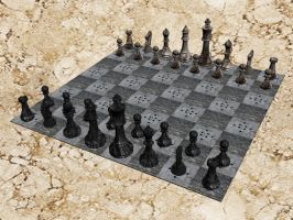 Chess Board -Stone Texture- by loner654