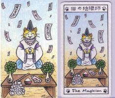 The Magician maneki neko tarot by crokittycats