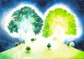 The two trees of Valinor IV by RobleskaZeppelin