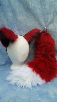 Foxy yarn tail and ear cosplay commission. by OurMassHysteria