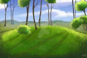 painting a fantastic landscape illustration by eydii