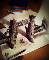 London Bridge 3d Drawing by ATCdrawings
