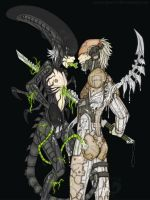 Yazoo and Raiden - Alien vs Cyborg by Icarus-Skollsun