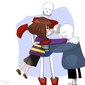 Family with sans,frisk and papyrus by ShadowZyzy
