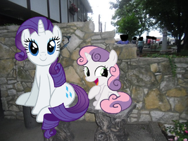 Rarity and Sweetie Belle Sitting by Eli-J-Brony