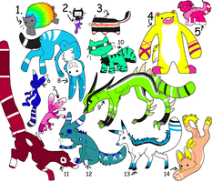 Mixed Animal Adopts ..::OPEN::.. .:MOST CHEAP:. by love-the-adopts