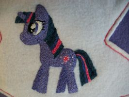 Twilight Sparkle w Spike Pillow Closeup by grandmoonma