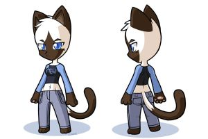 Siamese cat girl modern design by rongs1234