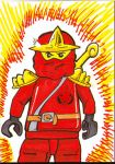Ninjago Kai sketch card by PlummyPress