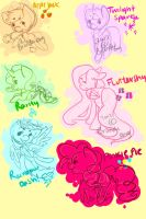 Mane six sketches by Lil-Wang