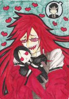 Grell and his plushie by Kaiyuo-kun