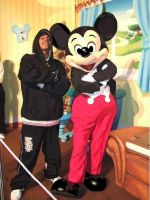 My cousin with Mickey, paint by SweetVenom94