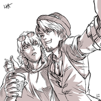 Quick sketch, Tiger and Bunny selfy by VKliza