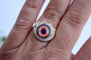 Steampunk Wire Wrap FIREY EYE Protection Ring by Create-A-Pendant
