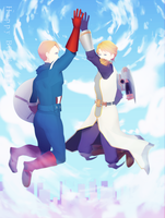 Superhero high-five! by longestdistance