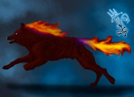 Fire wolf request by Sara-A2