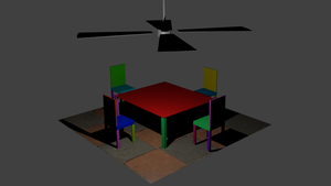 A Table Chairs and Fan by Bowser14456