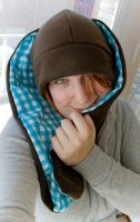 Brown and turquoise bunny hat by IskaDesign
