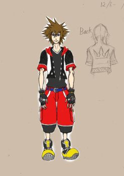 15 Year-Old Sora In KH3D Attire - Colored by Pretium