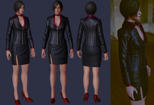 Ada RE Damnation costume low poly  WIP 3 by Zerofrust