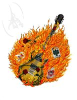 Flaming Guitar Commission by PhoenixGR