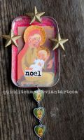 Noel recycled tin ornament by quidditchmom