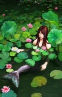 Mermaid Among Lillies by crownedmoon