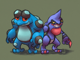 seismitoad and toxicroak by ponchuZN