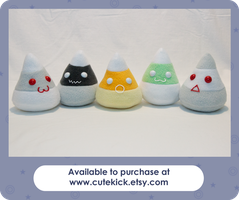Ghost Candy Corn Plushies by cutekick