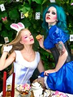Alice tea party with Bunny by Voodica
