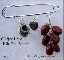 Coffee Love Kilt Pin Brooch by 1337-Art