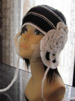 Hand-knitted Black and White Hat by MagicalString