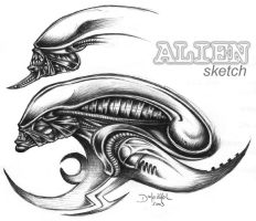 Alien sketch hunterkiller by hunterkiller