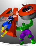 Hulk, Spidey and Thor 40th by CWRudy
