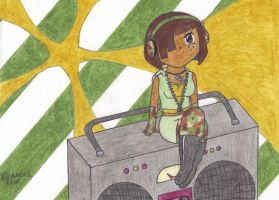 Camo Sallie and her Boombox by WhyPiggieWhy