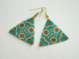 GEOMETRY OF ORIENT beautiful turquoise earrings by YANKA-arts-n-crafts