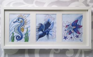 Seahorse, blue fish and starfish by AlexRoivas