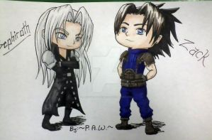 FF Chibies: Seph and Zack by PreciousAngelWings
