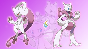 Mew, Mewtwo, and Mega's X/Y Wallpaper by Glench