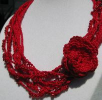 Red Multistrand Necklace by doilydeas