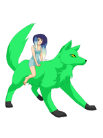 Human Queen Night and Creeper the dire wolf by ask-DJpon3