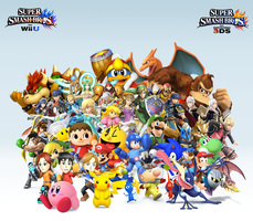 Super Smash Bros. Wii U/3DS Group Wallpaper v15 by CrossoverGamer
