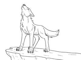 Free Howling Wolf Lineart by The-Crow-Faced-Wolf